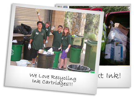Picture with kids in ink cartridge recycling fundraiser